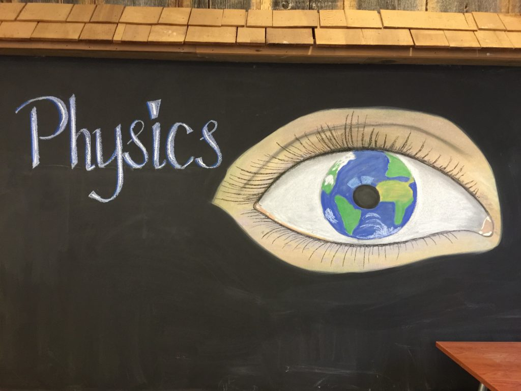 Waldorf 8th grade Physics chalkboard drawing