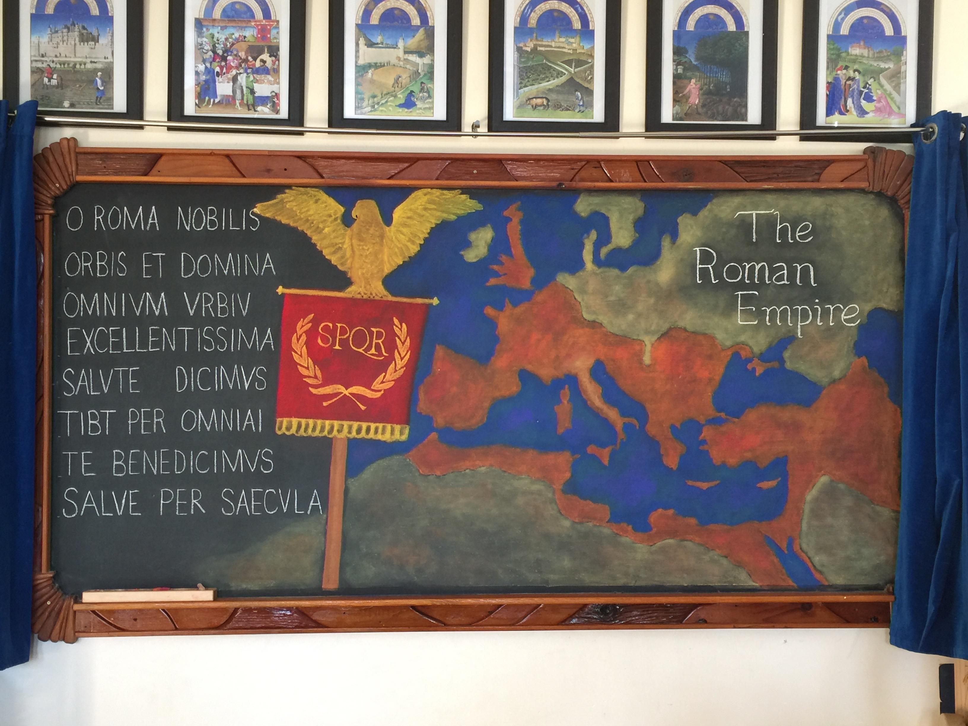 6th grade Rome Waldorf chalkboard
